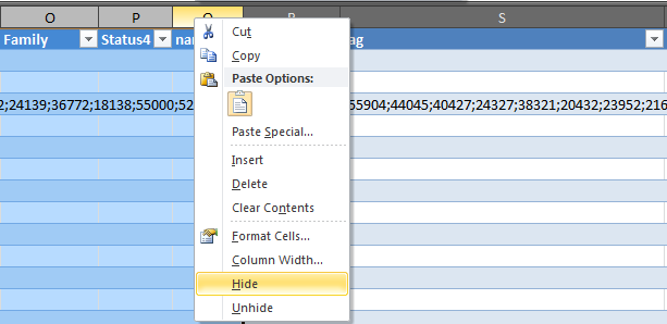 Click here to hide columns in Excel 2010