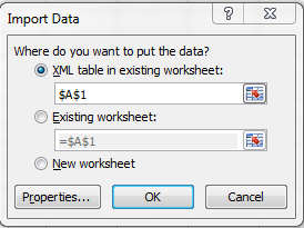 Import Data Window Excel 2010 during import