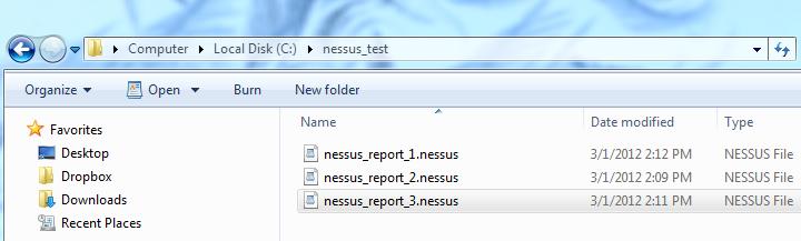 Nessus report files in windows explorer