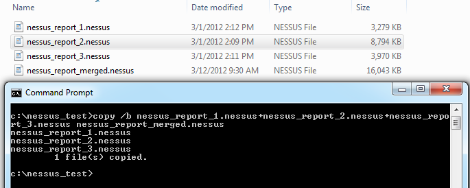 Merging Nessus reports using windows command line.